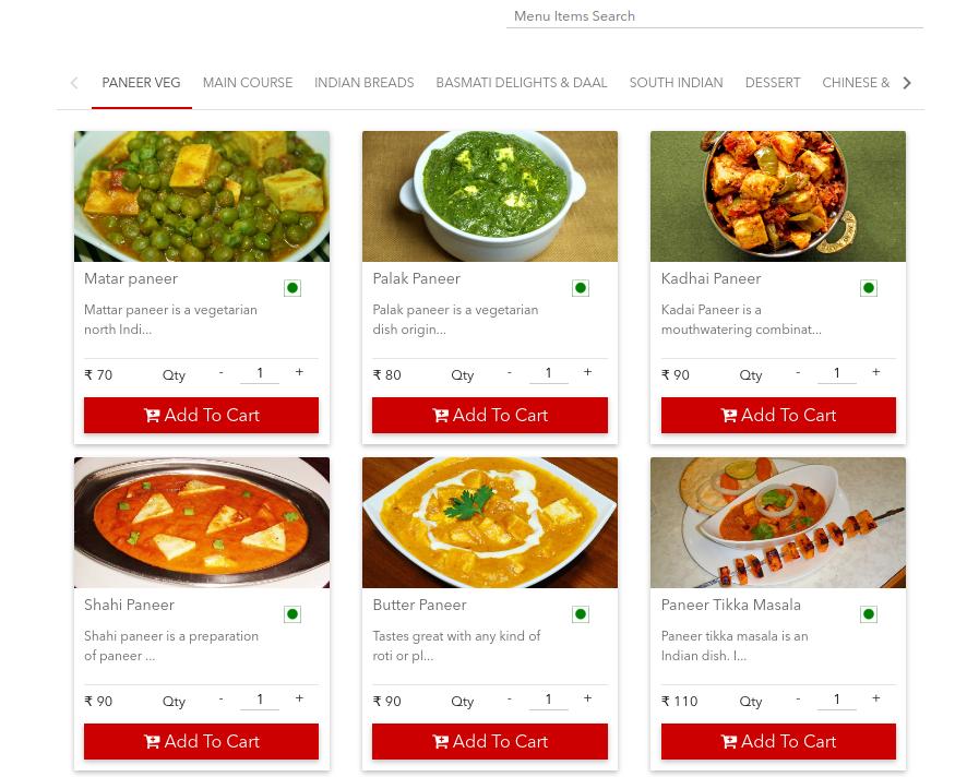 Online eMenu Food Ordering